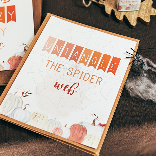 Fall Classroom Party, Untangle The Spider Web Sign