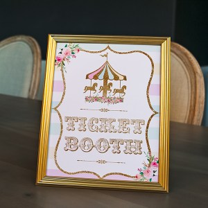Pastel and Gold Carousel Birthday Party Ticket Booth Sign