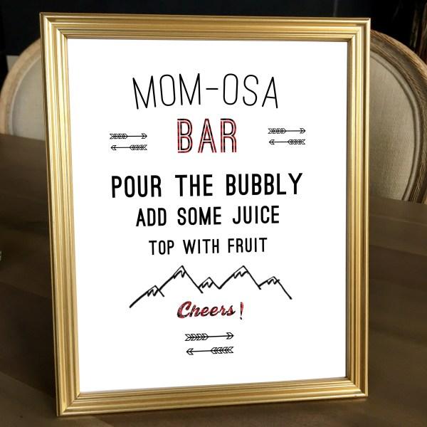 Buffalo Plaid Baby Shower Mom-Osa Bar Sign (8 x 10)