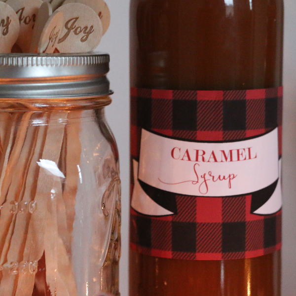 Hot Chocolate Bar Decorations: Caramel Syrup Label