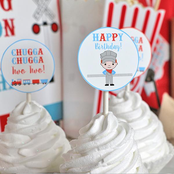 Chugga Chugga Two Two Birthday Party Cupcake Toppers 2