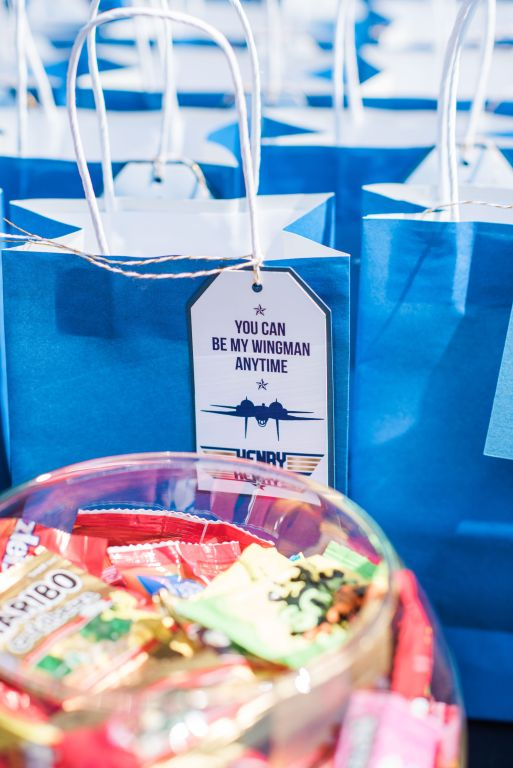 Blue and Gold Top Gun Birthday Party Favor Tags