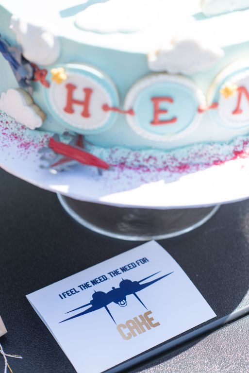Blue and Gold Top Gun Birthday Cake Sign