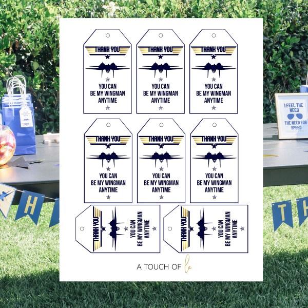 Gold and Navy Top Gun Favor Tags (5 x 7) 2