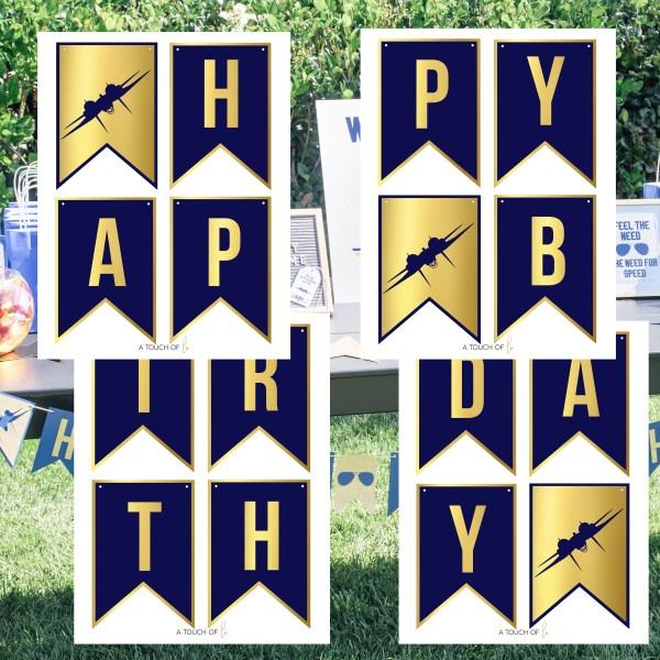 Gold and Navy Top Gun Happy Birthday Banner