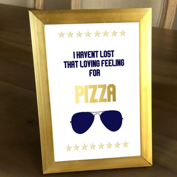 Gold and Navy Top Gun Pizza Sign (5 x 7)