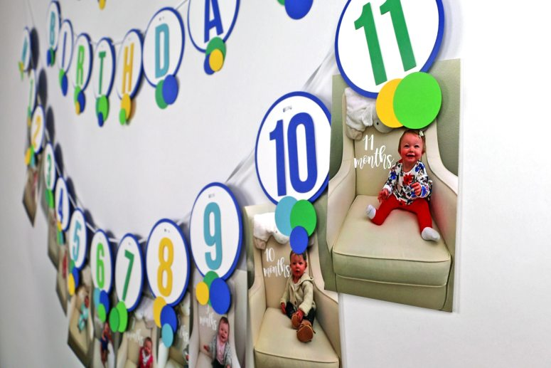 12 Month Picture Banner for Blue and Green Ball Party