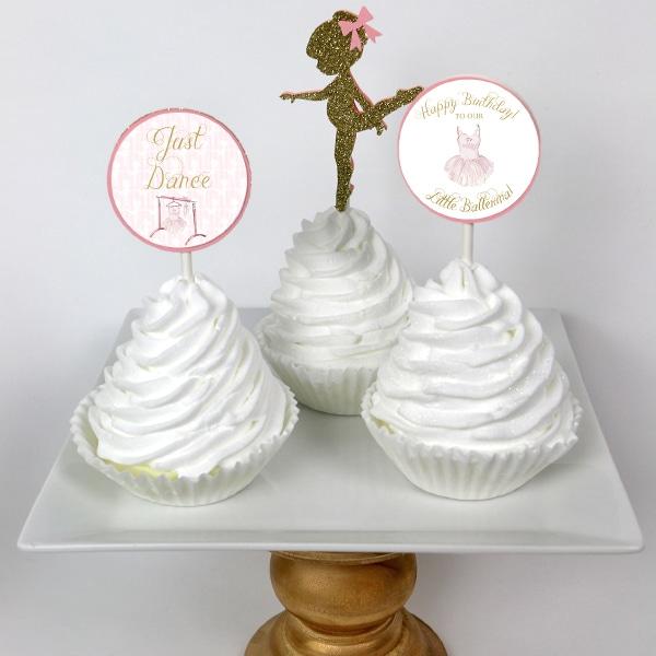 image regarding Printable Cupcake Toppers named Ballerina Birthday Bash Printable Cupcake Toppers
