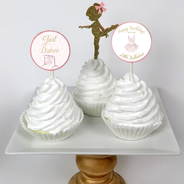 Ballerina Party Printable Cupcake Toppers