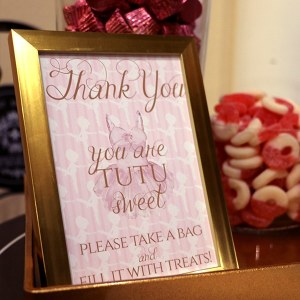 Thank You Sign for Ballerina Party Candy Bar