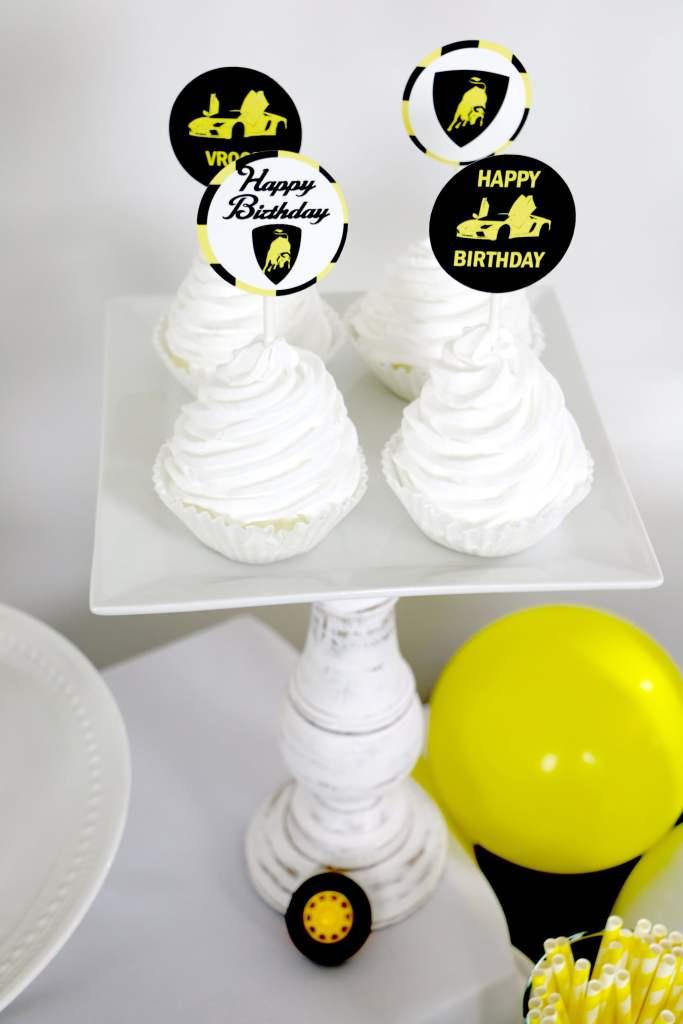 Lamborghini Birthday party supplies, Lamborghini cupcake toppers