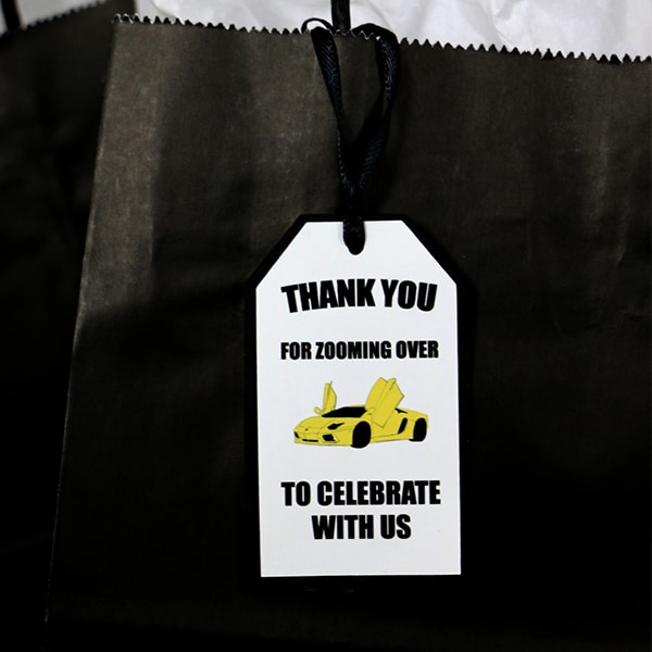 Yellow Supercar Party Favor Tag