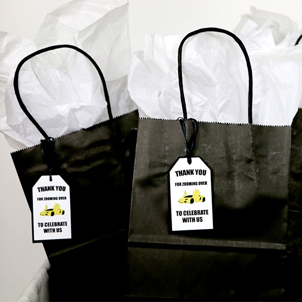 Supercar Party Favor Tags