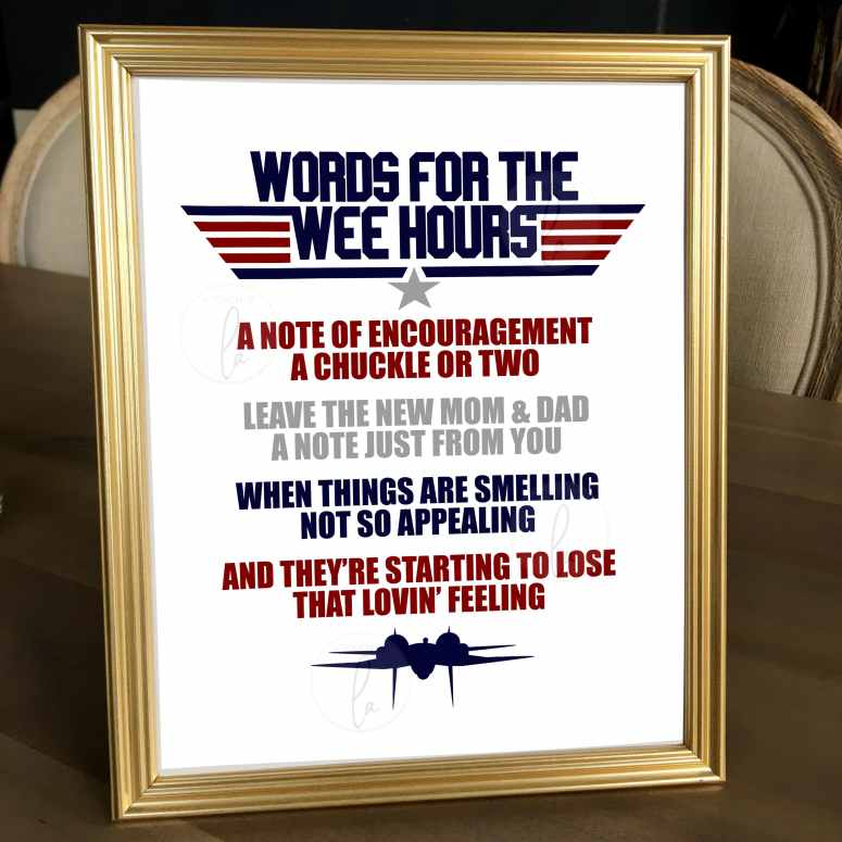 Top Gun Words for the Wee Hours Baby Shower Activity