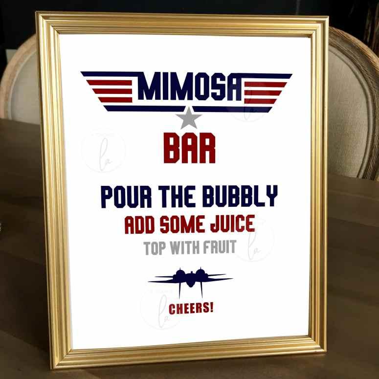 Top Gun Mimosa Bar Sign