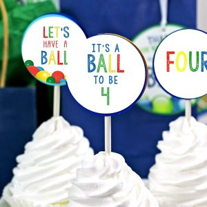 Ball Party 4th Birthday Cupcake Topper