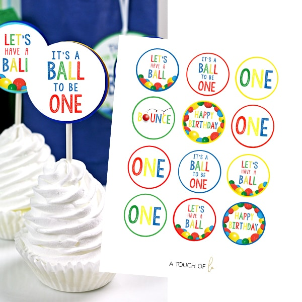 Ball Party 1st Birthday Cupcake Topper