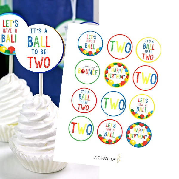 It's A Ball to Be Two Cupcake Toppers Printable