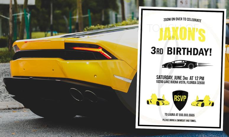 Yellow Luxury Car Party Invitation