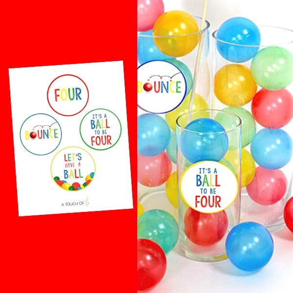 It's A Ball to Be Four Printable Small Party Circles