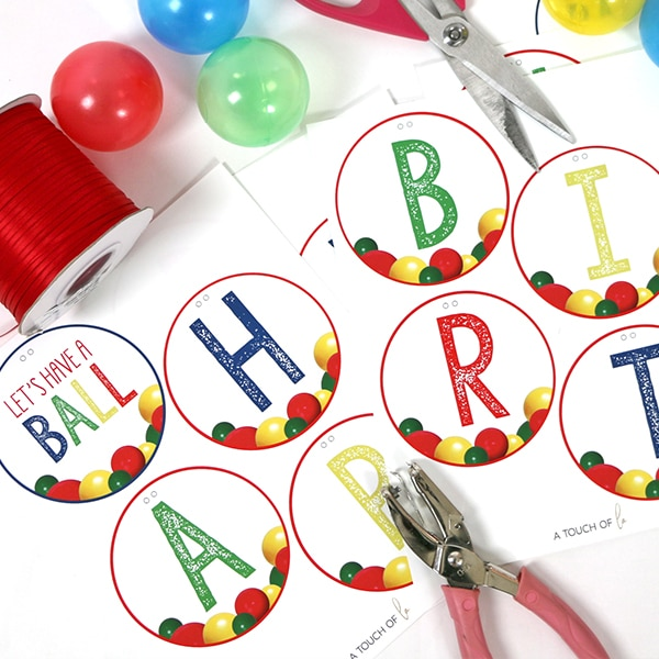 Let's Have A Ball Party Printable Happy Birthday Banner