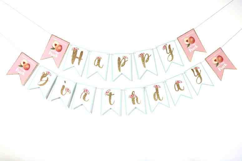 peach birthday theme party banner