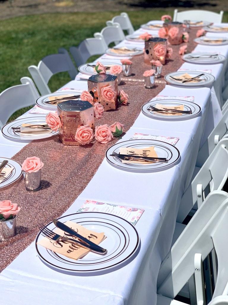 Rosé Bridal Shower Table Setup
