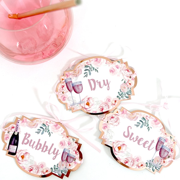Rosé Bridal Shower: Rosé All Day Bottle Tags