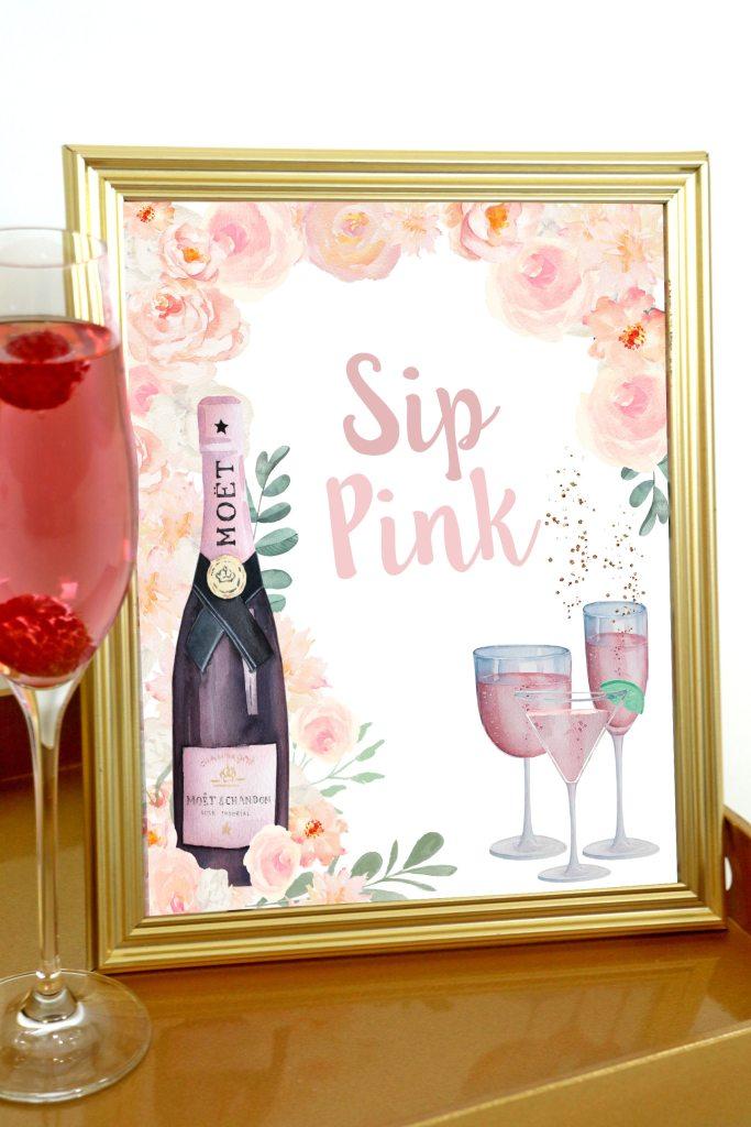 Sip Pink Rosé Shower Signs