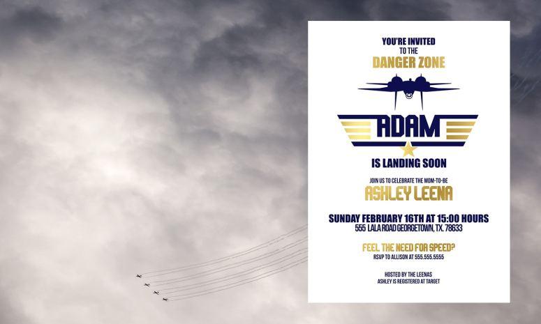 Blue and Gold Top Gun Baby Shower Invitation