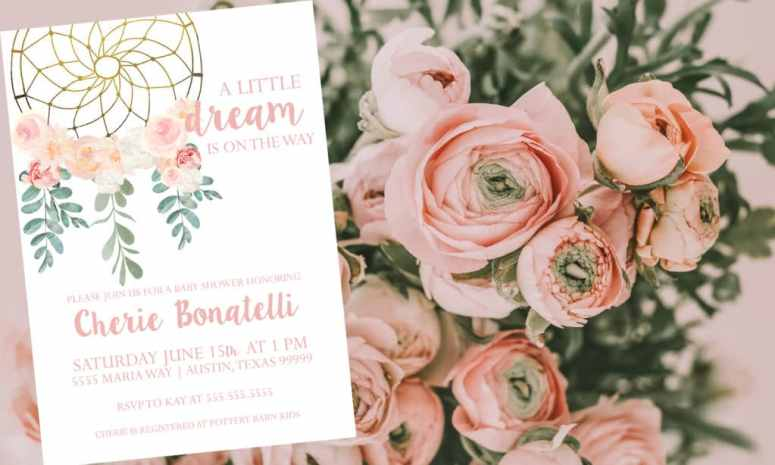 Dream catcher baby shower Invitation: A little dream is on the way!