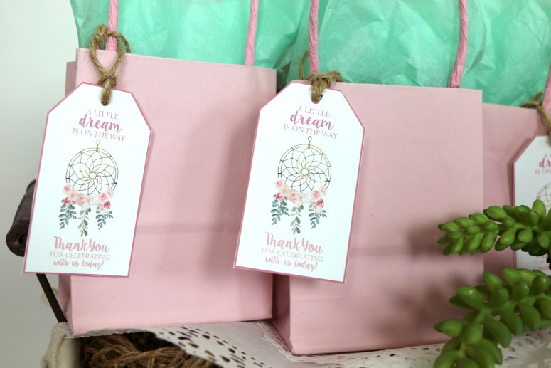 Dream catcher favor tags for baby shower