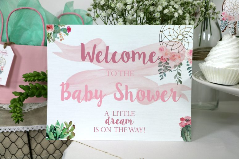 Bohemian Baby Shower Welcome Sign
