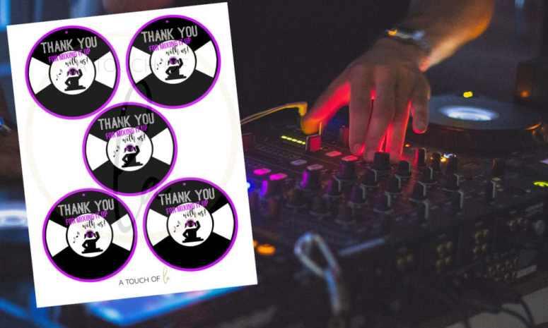 Purple DJ Party Favor Tags