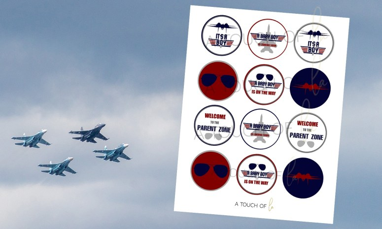 Print and Cut Cupcake Toppers for Top Gun Baby Shower