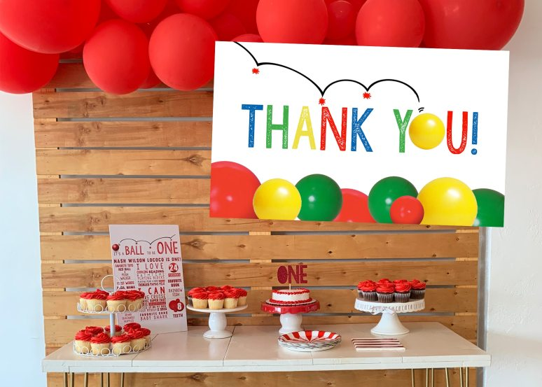 Bouncy Ball Party Decorations and thank you notes