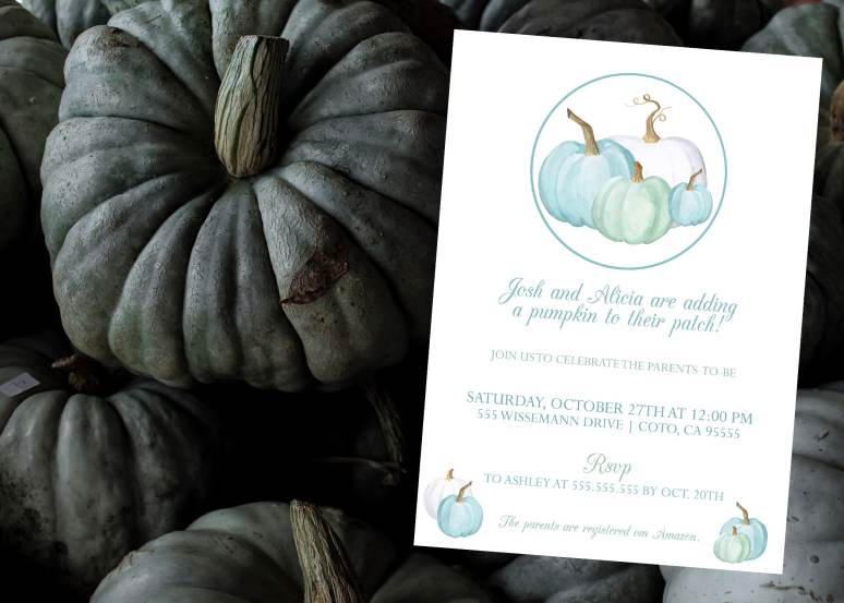 Blue and green Little Pumpkin Invitation for Baby shower
