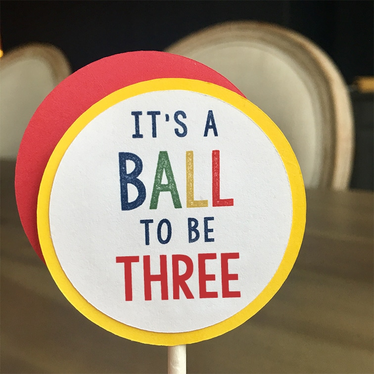 Bouncy Ball Party Decorations: Cupcake Toppers