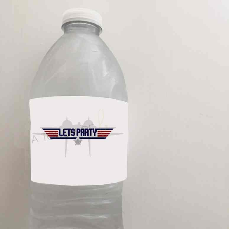 Top Gun Party Water Bottle Labels