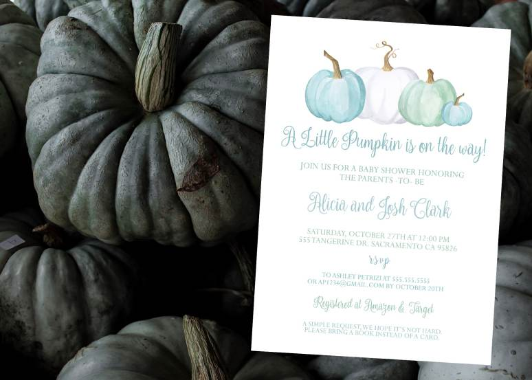 Boy Little Pumpkin Invitation for Baby shower