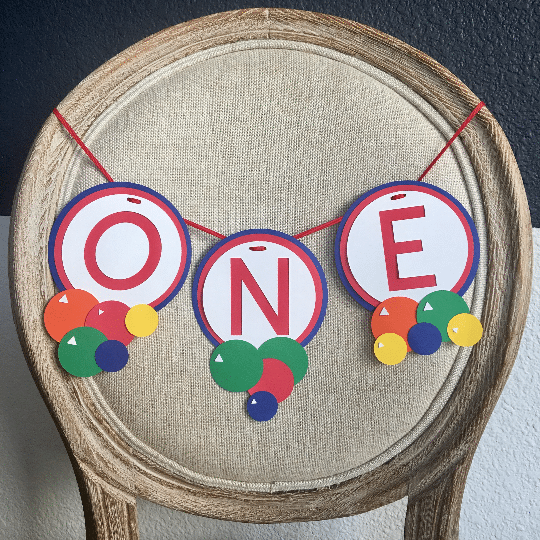 Bouncy Ball Party Decorations: Ball party high chair banner