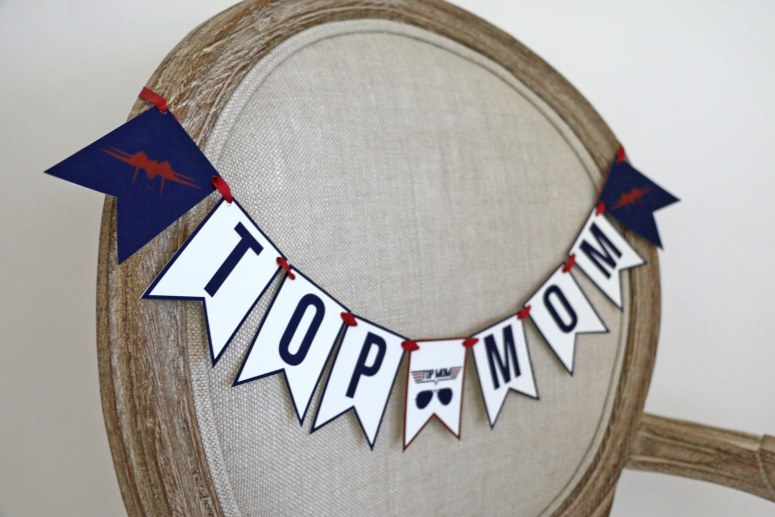 Top Mom Chair Banner for Top Gun Themed Baby Shower
