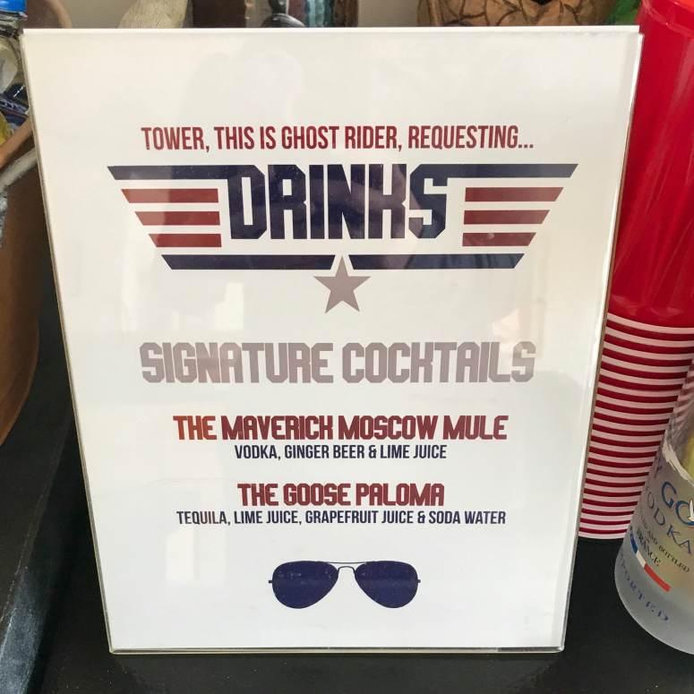 Top Gun Signature Cocktail Sign