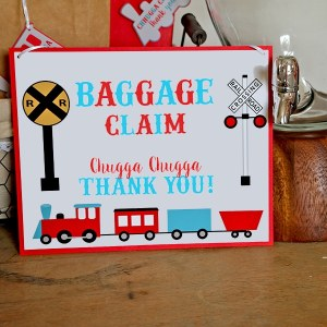 Train Party Baggage Claim Sign