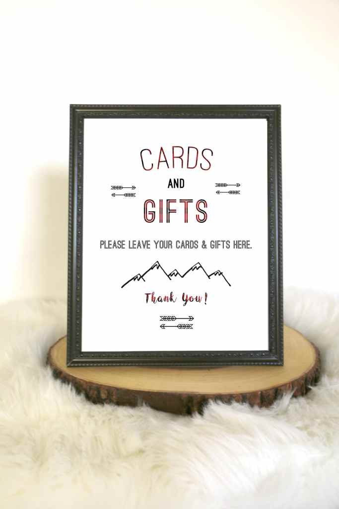 Buffalo Plaid Cards and Gifts Sign
