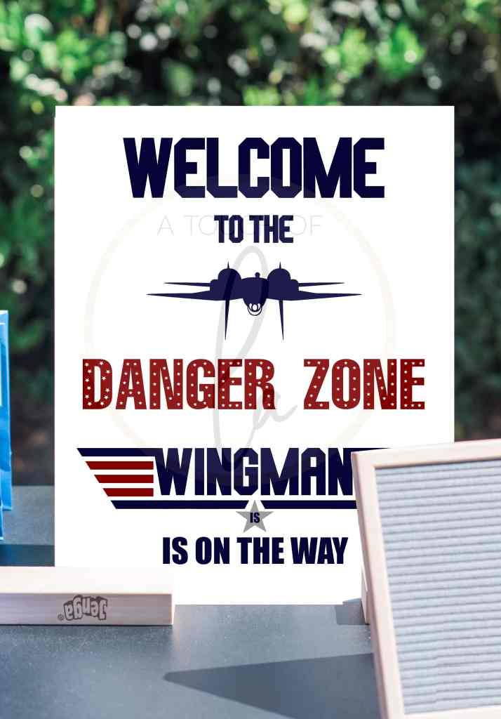 A Wingman is On The Way Top Gun Baby Shower Sign