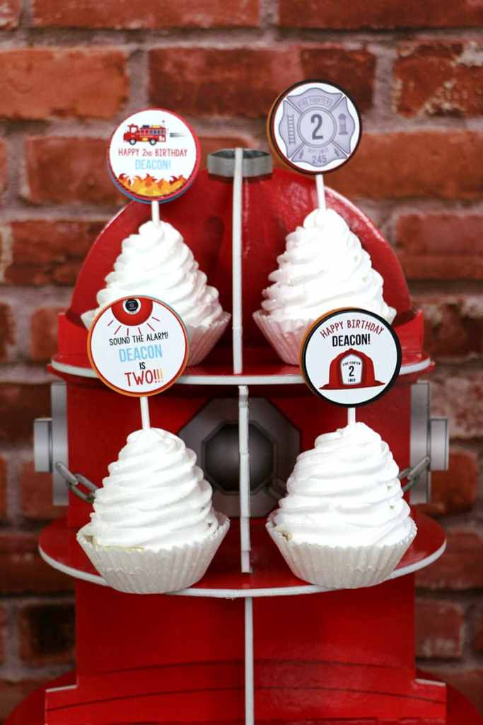 Firefighter birthday party Cupcake Toppers