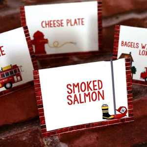 Firefighter Party Supplies: Editable Food Signs