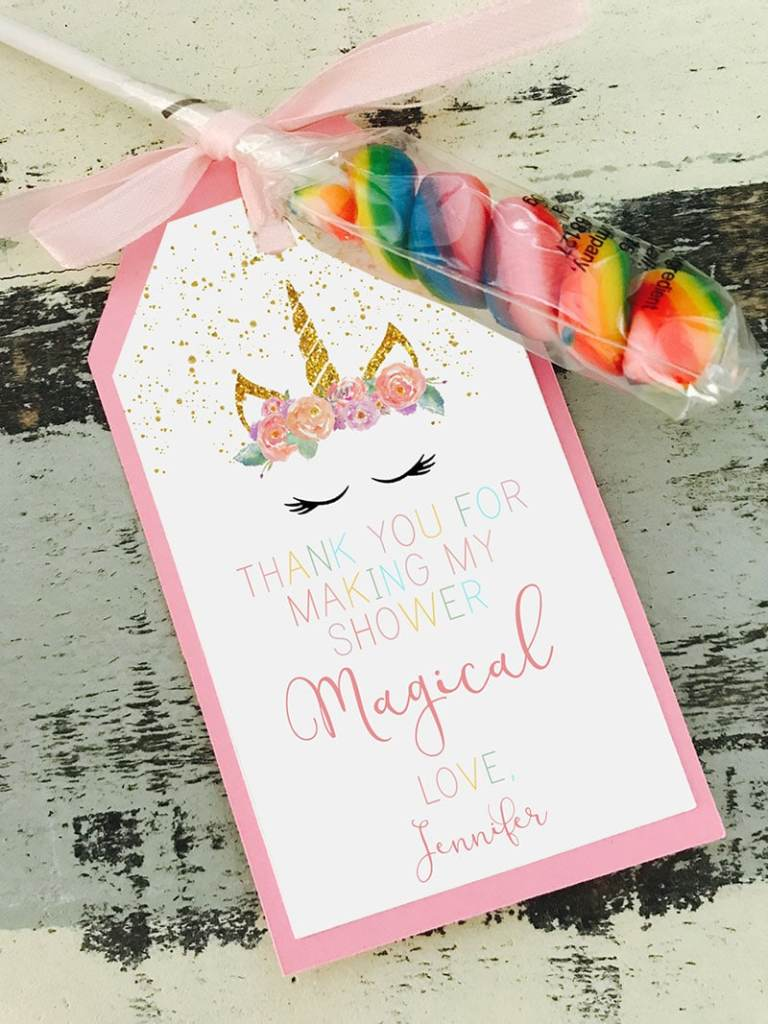 Unicorn Baby Shower Party Favor Tags