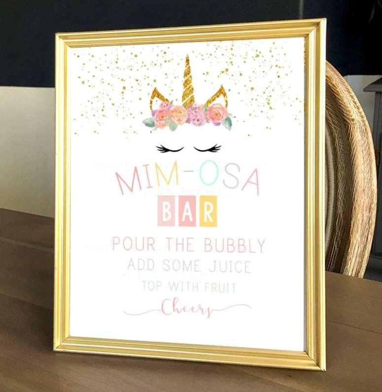 Unicorn Party Mimosa Bar sign